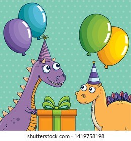 carnotaurus and stegosaurus with party hat and balloons