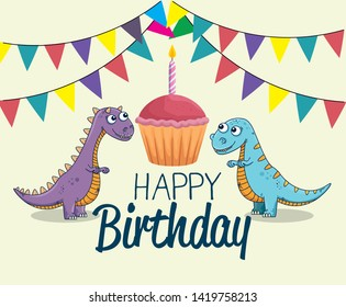 carnotaurus and thescelosaurus with cake and party banner