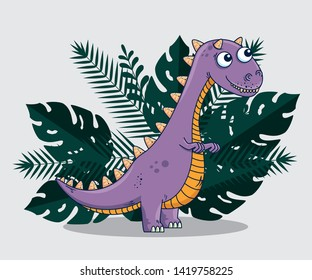 carnotaurus wild dinosaur with branches leaves plants