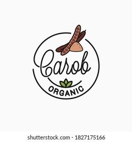 Carob logo. Round linear logo of carob superfood on white background