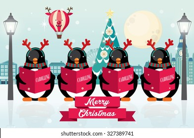 carolers/ penguins christmas vector/illustration