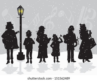 Carolers Singing Outside as it Snows