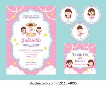 Carousel Birthday card set. invitation, toppers, label/ toppers/coaster, thank you card. Can use for birthday and baby shower. carousel with cute little ballerinas.