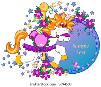 Carousel horse clip-art with space for text.