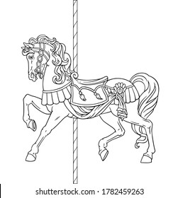 Carousel Horse, Merry go round horse, French carousel, Retro carousel, Parks, Funfair carnival. Vector illustration of carousel horse on carnival ride