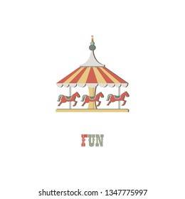 Carousel horse on white isolated background. Logotype illustration.