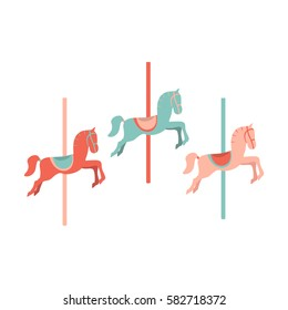 Carousel Horses. Vector illustration