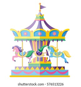 Carousel with horses. Vector illustration. Colorful children's carousel.
