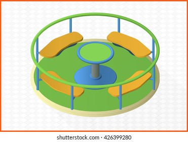 carousel isometric perspective view flat vector 3d illustration