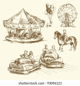carousel - merry go round - hand drawn collection