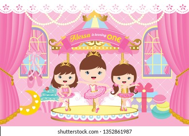 Carousel Party Backdrop with cute ballerina. Baby shower party backdrop. first birthday party.
