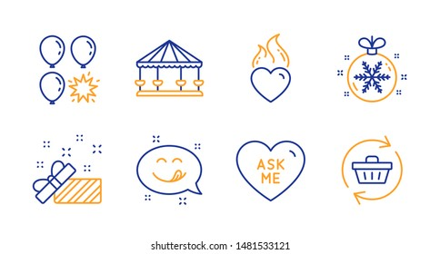 Carousels, Balloon dart and Present line icons set. Christmas ball, Ask me and Heart flame signs. Yummy smile, Refresh cart symbols. Attraction park, Gift. Holidays set. Line carousels icon. Vector