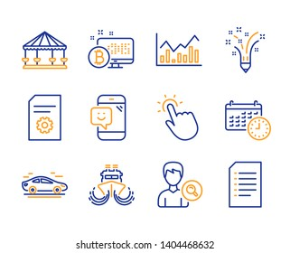 Carousels, Inspiration and File settings icons simple set. Car, Search people and Infochart signs. Bitcoin system, Ship and Touchpoint symbols. Calendar, Smile and Document. Line carousels icon