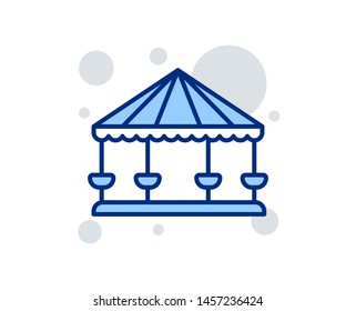 Carousels line icon. Amusement park sign. Linear design sign. Colorful carousels icon. Vector