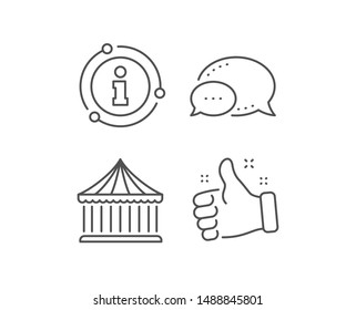 Carousels line icon. Chat bubble, info sign elements. Amusement park sign. Linear carousels outline icon. Information bubble. Vector