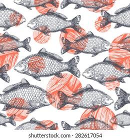 Carp Fish Asian style seamless pattern. Vector illustration