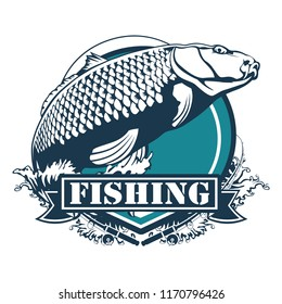 Carp fish. Fishing club sign or emblem. Fisherman sport adventure badge with vector shield shape symbol, fishing rod with float and hook, big carp fish in river water with blue ribbon design.