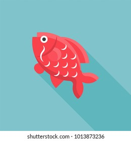 Carp Fish icon for Chinese new year, flat design with long shadow