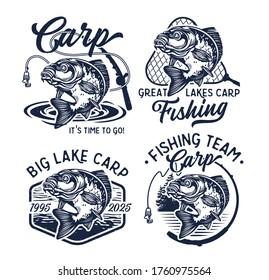Carp Fish Vector Illustration. Common Carp Emblems. Common Carp Illustration. Isolated on white background.