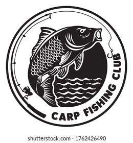 Carp Fishing logo, good for fishing tournament event and Fresh Fish Company Business