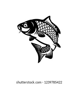 carp fishing logo vector illustrations