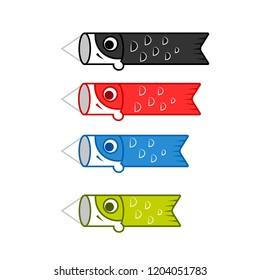 Carp flag icon set. Clipart image isolated on white background