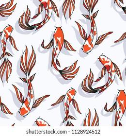 Carp koi vector seamless pattern goldfish background fish texture