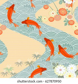Carp, red fish, goldfish. Traditional eastern seamless pattern. Waves pattern. Vector.