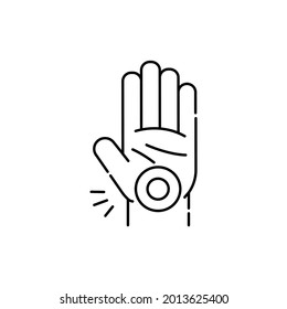 Carpal tunnel syndrome CTS olor line icon. Computer-induced medical problem. Pictogram for web page, mobile app, promo.