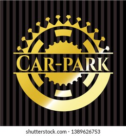 Car-park gold shiny emblem. Vector Illustration. Detailed.
