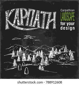 Carpathian landscape and the inscription KARPATY in Ukrainian in white on a black background. Vector illustration. Hand drawing vector illustration.