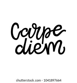 Carpe diem hand lettering quote illustration with decorative elements. Vector template for wall art, poster, t-shirt, greeting card design.