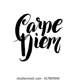Carpe Diem - Latin phrase means Catch, captures the moment. Motivational quote in black ink on a white background. Modern calligraphy, vector illustration. Prints on  t-shirts, bags, cards, posters