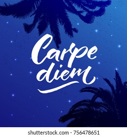Carpe diem - latin phrase means seize the day, enjoy the moment. Inspiration quote brush calligraphy handwritten on night sky with stars and palm leaves silhouettes.