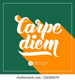 Carpe diem (Latin Translation: Catch the moment) Hand-lettering calligraphy. Inspirational  and motivational quotes collection. Premium Handmade vector Lettering. Long flat shadow concept