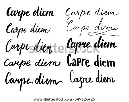 Carpe Diem Phrase Set Simple Lettering Vector De Stock Libre De