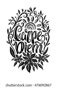 Carpe Diem - Seize the day Latin phrase. Hand drawn lettering design - creative typographic poster for wall decoration, apparel design. Vintage cute vector illustration with quote.