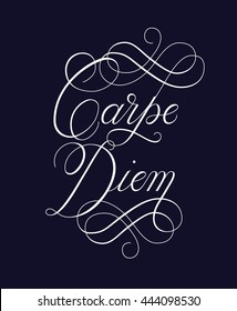 Carpe Diem vector quote. Latin phrase Capture the moment. Modern calligraphy and lettering. Can be used for print (bags, t-shirts, home decor, posters, cards) and for web (banners, ads)