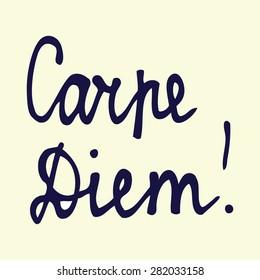 carpe diem,hand written inspirational words, isolated design object