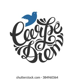 Carpe diem-latin phrase means seize the moment. Hand drawn lettering. Inspirational quote. Vector calligraphic illustration.