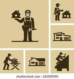 Carpenter Builder Vector Icon Figure Pictogram