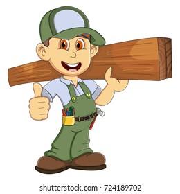 Carpenter cartoon vector illustration