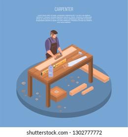 Carpenter concept background. Isometric illustration of carpenter vector concept background for web design
