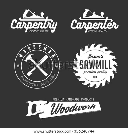 Carpenter Design Elements Vintage Style Logo Stock Vector Royalty