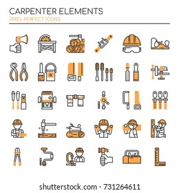Carpenter Elements , Thin Line and Pixel Perfect Icons