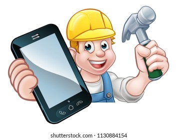 A carpenter or handyman holding a hammer and phone with copyspace