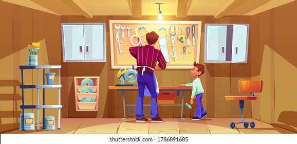Carpenter and his son do craft or repair on workbench in garage. Vector cartoon illustration of workshop interior with carpentry tools and instruments. Boy with hammer helps father