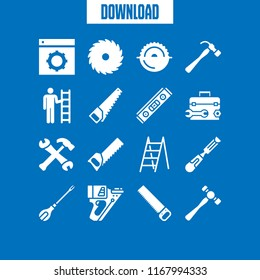 carpenter icon. 16 carpenter vector set. handsaw, chisel, level and toolbox icons for web and design about carpenter theme