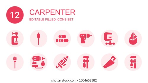 carpenter icon set. Collection of 12 filled carpenter icons included Clamp, Auger, Wood, Driller, Caulk gun, Handsaw, Hand axe