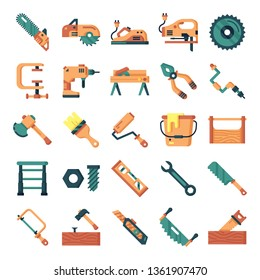 Carpenter icons pack. Isolated carpenter and woodworking symbols collection. Graphic icons element